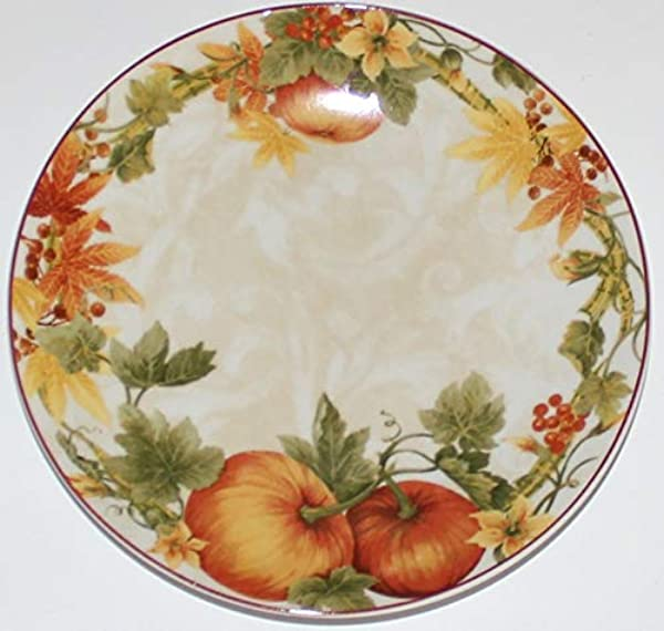 222 Fifth Thanksgiving Pumpkin Vine Dessert Appetizer Canape Plates Set Of 4