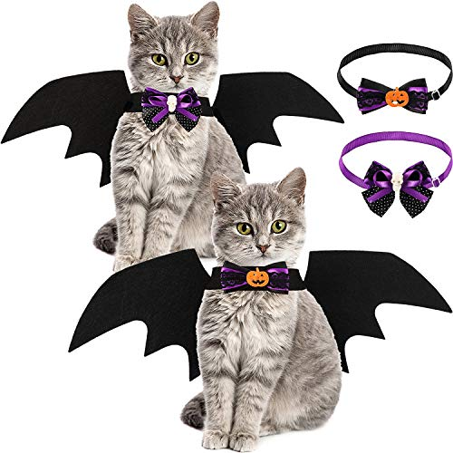 Syhood 2 Pieces Pet Cat Bat and 2 Pieces Collar Bow Ties, Bat for Dogs Cat Costume for Halloween Party Decoration Pet Cosplay