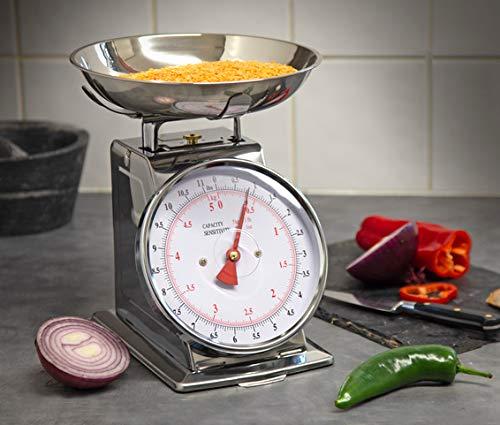 Sonvadia, bilancia da cucina, 5 kg, meccanica (ciotola e corpo in acciaio inox), quadrante grande