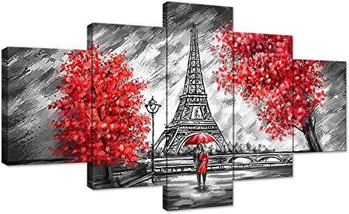 Le couple marchant sous la pluie Tour Eiffel arbre rouge toile peinture noir et blanc affiche d'art mural décor à la maison moderne 5 panneaux décor imprimé pour salon peinture de la chambre + le