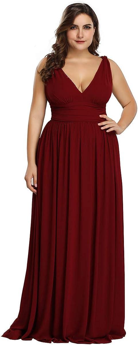 Alisapan Womens Max 55% OFF V-Neck Ranking TOP11 Chiffon Bridesmaid Size Long E Plus Dress