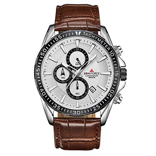 Reloj de Pulsera con cronógrafo para Hombre - Relojes multifunción con Esfera de Zafiro de Acero Inoxidable-C