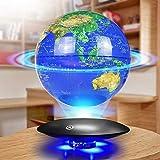 SuRose Globo, Globo de Mesa Globo de levitación magnética 8'Globo Flotante de levitación magnética Mapa del Mundo Giratorio antigravedad Globo Azul y Plataforma Negra Ajuste de LED Decoración para