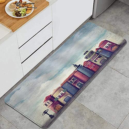 VAMIX Tappeto da Cucina,Città di fantasia con edifici in stile libri antichi Uccelli e paesaggio urbano di letteratura cielo nuvoloso,antiscivolo passatoia da cucina zerbino tappetino per il bagno