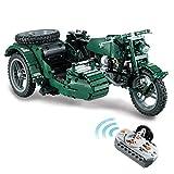 WEERUN Technic Motocicleta, 629 Piezas 2.4G 4CH RC Moto WW2 Militar Motocicleta con Control Remoto y Motor, Bloques de Construcción Compatible con Lego Technic