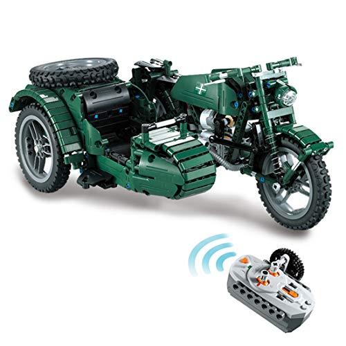 WEERUN Technik Motorrad Bausteine Bausatz, 629 Teile 2.4G WW2 Militär Motorrad mit Fernbedienung und Motoren, Konstruktionsspielzeug Kompatibel mit Lego