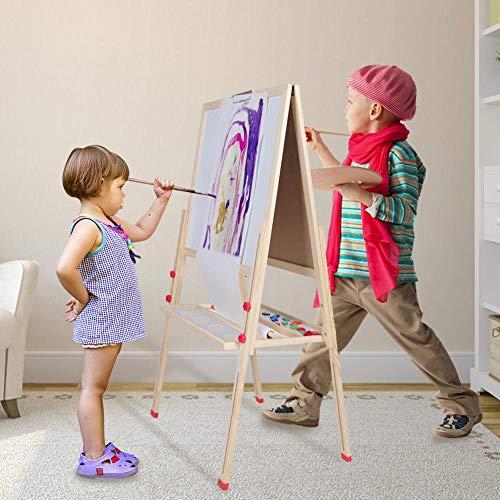 3 in Tafel für Kinder zum Malen, Staffelei für Kinder, Magnettafel aus Holz, Zeichenständer, höhenverstellbar, 55 x 55 x 136 cm
