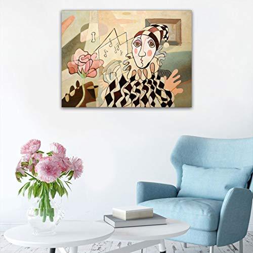 JxjwsPrints Abstrakte Dekor-Aufkleber, Kunst-Dekoration, Ölgemälde von Harlekin und Rose, modernes Kunstwerk, DIY-Wandaufkleber, abnehmbare Aufkleber, 61 cm B x 78,7 cm L