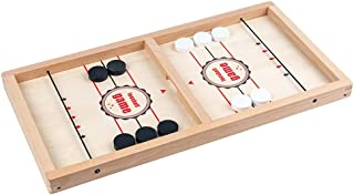 Chess Set for Adult Kid Chess Board 2 in 1 Foosball Winner Fast Sling Puck Game Table Ice Hockey Gobang Catapult Chess Woo...
