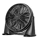 MPM MWP-18 Ventilatore da pavimento industriale circolatorio silenzioso oscillante 360°, 3 velocità, 53 cm, Nero, 90 W, Argento, 53 cm