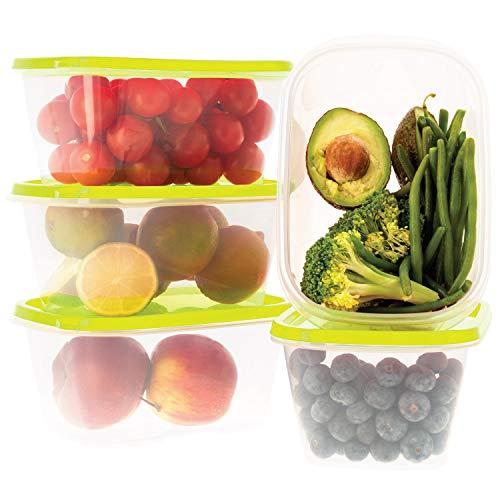 Oursson Recipiente de Almacenaje de Alimentos hermético sin BPA - Recipientes Multiusos - Reutilizables - Recipientes para Snacks Transparentes con Tapas de Color Verde, CP5583-1S/GA (5 x 1L, Verde)