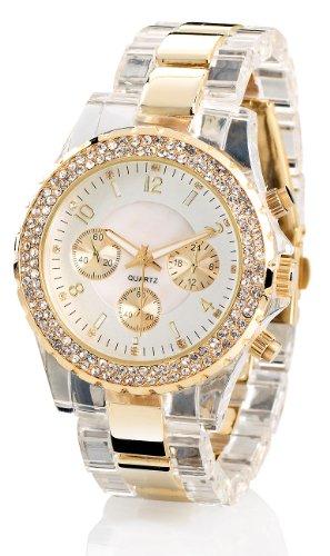 Crell Damenuhr: Elegante Quarz-Armbanduhr, transparent-Gold (Uhr Damen)