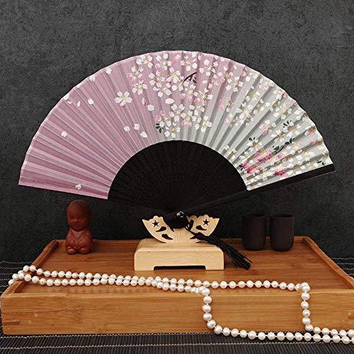 LXTIN Abanico Plegable, abanicos de Mano de Seda Vintage, abanicos Grandes Chinos japoneses para Fiestas de Baile, Regalos de Boda, decoración de Bricolaje, Decoraciones para el hogar (c