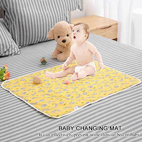 Protector de colchón reutilizable e impermeable para bebés, Paño de algodón infantil impermeable Estera reutilizable del cojín del orinal Estera de cambiante (fox)
