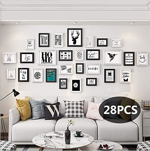 Juego de 28 marcos de fotos con marco de metacrilato para colgar en la pared, marco de fotos ecológico-BIGYOUZI (negro y blanco)