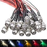 WayinTop 18pcs Luces del Indicador LED Piloto 8mm 12V LED Indicador Luz Lámpara Piloto Dash...