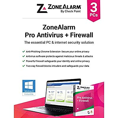 ZoneAlarm Pro Antivirus+Firewall [3 Devices] 1 Year Subscription (Windows 10)