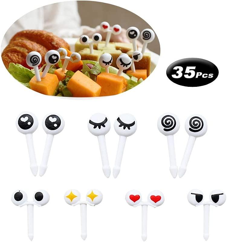 35 Pcs Eye Toothpicks Picks Food Fruit Picks Forks For Kids Baby Shower Birthday Party Cake Decoration Supplies