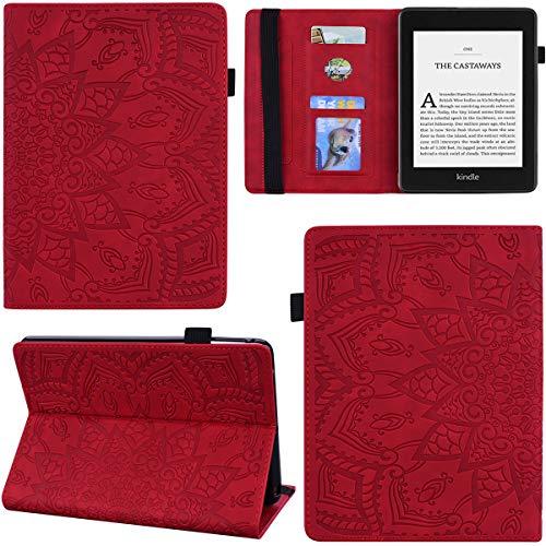DodoBuy Funda para Kindle Paperwhite, Mandala Pattern Flip Smart Cover Wallet PU Funda de cuero bolsa de múltiples ángulos con ranuras para tarjetas - Rojo