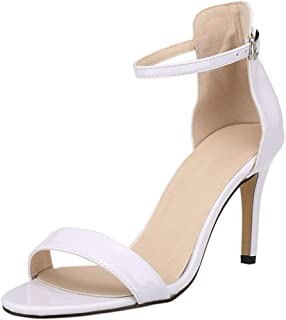 d0c27a72439846 wealsex Sandales d'Eté Femme Talon Haut Aiguille Chaussures A Talons PU  Cuir Bride Cheville