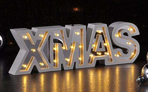 Schriftzug X-MAS beleuchtet 30 cm (54939) Weihnachtsdeko