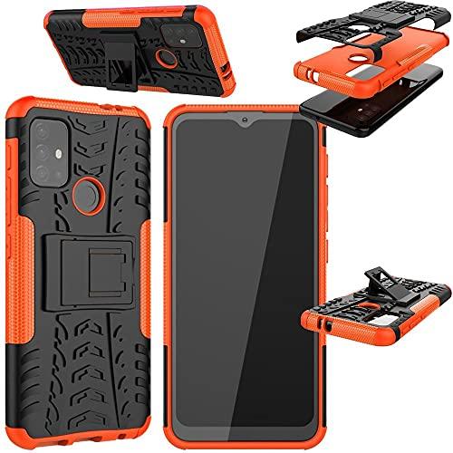 Wigento Für Motorola Moto G30 / G10 Hybrid Hülle 2teilig Outdoor Schwarz/Orange Handy Tasche Hülle Cover Schutz