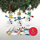 Baker Ross AT162 Weihnachtskugeln Schneemann Bastelset (6 Stück) Moosgummi Teile zu Weihnachten Basteln Kinder, Sortiert