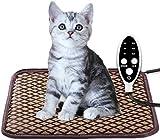 ペット用 ホットカーペット ペットヒーター 猫 犬用 猫マット 犬マット ホットマットヒーター 小動物対応 防寒用具 寒さ対策 タイマー 3段階温度調節 タイミング機能 過熱保護 (40x60cm)