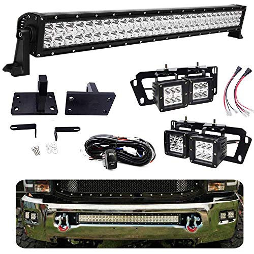 """WeiSen Front Bumper 32 Inch 180W Sraight LED Light Bar Mount Kit w/Heavy Duty Tow Hooks & 4x 18W 3"""" Fog Driving Lights Off-Road Replacement Brackets Plug N Play Wire For Dodge Ram 2500/3500 2010-2018"""