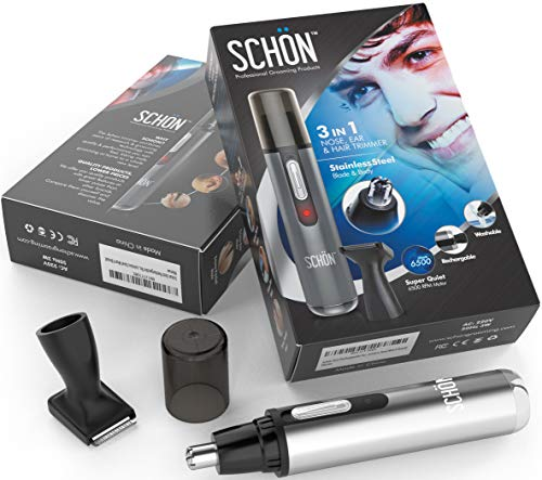 Schon Premium Stainless Steel 3-in-1 Nose, Eyebrow & Facial Hair Trimmer....