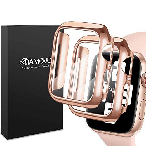 AMOVO - Carcasa para Apple Watch Series 6/5/4/SE de 44 mm de vidrio templado incorporado [cobertura completa 3D] [antiarañazos] funda protectora rígida para iWatch (44 mm, oro rosa)