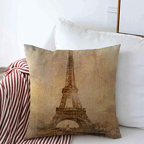 N\A Throw Pillow Case City Vintage Estilo Retro Torre Eiffel Paris Romance Clip Love Old France Parisian Farmhouse Cojín Cuadrado Fundas de Almohada para decoración del hogar