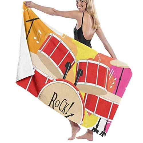 xcvgcxcvasda Badetuch, Bathroom Towels Watercolor Drum Beach Bath Pool Sport Travel Hand Spa Towel 31x51 Inches Size