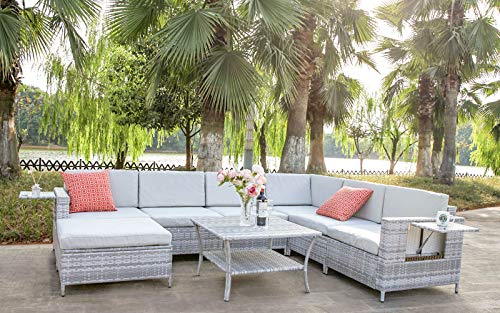 DECMICO 8-Piece Patio Rattan Sectional Sofa, Furniture Wicker Conversation Set for Garden and Lawn with Coffee Table and Light Grey Water-Resistant Cushions