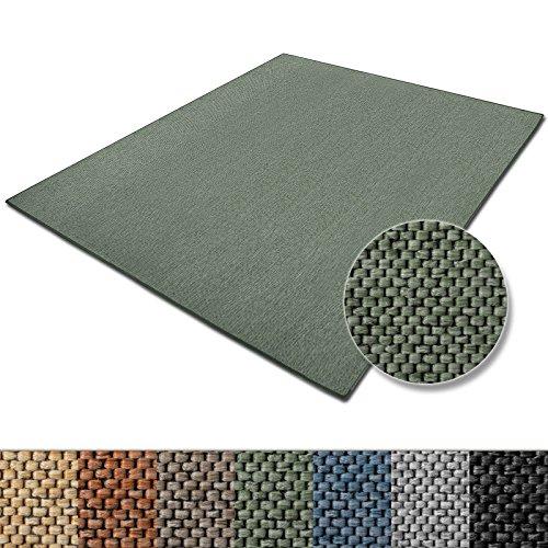 casa pura Teppich Sabang | viele Farben und Größen | Flachgewebe, Sisaloptik | Qualitätsprodukt aus Deutschland | GUT Siegel | für Wohnzimmer, Kinderzimmer, Flur etc. (grün, 66x130cm)
