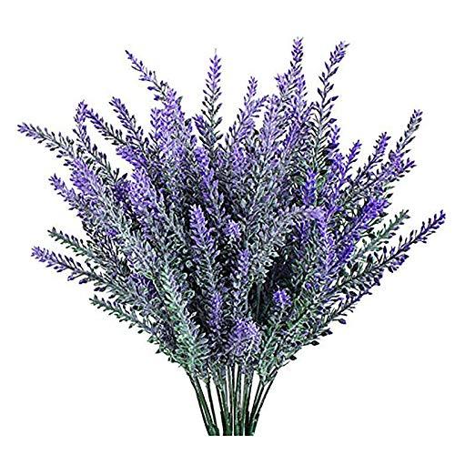 YGSAT 4 Flores Artificiales|Lavanda Artificial |Flores Artificiales de Lavanda|5 Cabezas de Flores Artificiales|Ramo de...