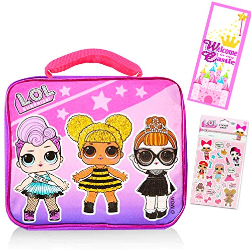LOL Dolls Lunch Box for Girls Kids Bundle ~ Premium Insulated LOL Lunch Bag with Strap with Bonus LOL Stickers and Door Hanger (LOL Dolls School Supplies)
