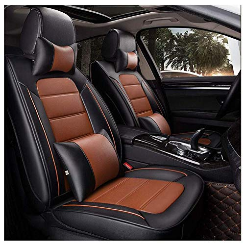 Housse de siège de voiture, universel cuir imperméable à l'eau siège de voiture protecteur pour avant et arrière 5-sièges, ensemble de 9 pièces,Orange