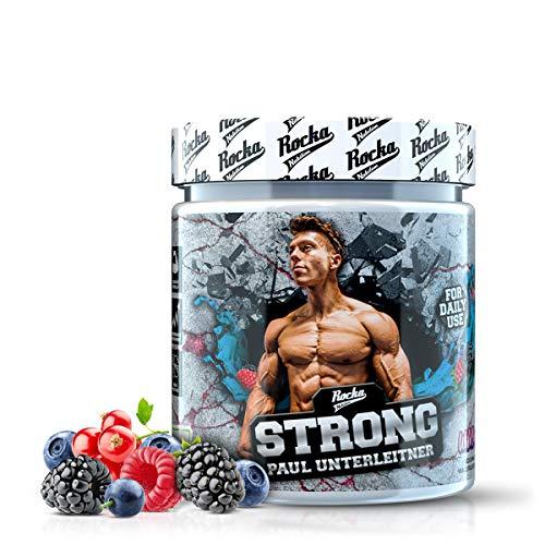 Rocka Nutrition STRONG Kreatin Vitamin K2+D3 Magnesium und Zink speziell für eine vegane Ernährung Spinatextrakt Creatin (Wild Berry)