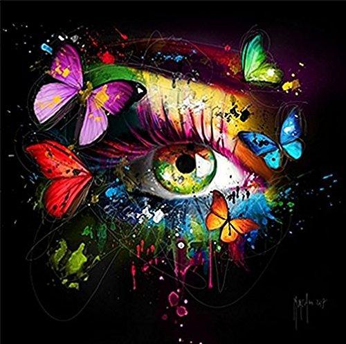 Fertig-Bild - Patrice Murciano: Le miroir de l'âme 70 x 70 cm Auge Schmetterlinge Pop Art schrill bunt modern Kult