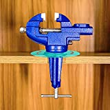 Mini Table Clamp Home Vise Clamp-On Vise New upgraded nylon jaws more suitable for clamping electronic coils Jewelers Hobby Clamps Craft Repair Tool Portable Work Bench Vice, 2.0 'blue