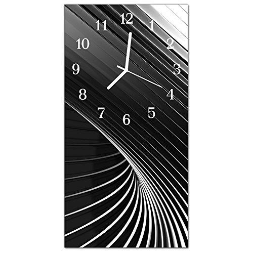 DekoGlas Glasuhr \'Abstrakt Schwarz\' Uhr aus Echtglas, eckig große Motiv Wanduhr 30x60 cm, lautlos für Wohnzimmer & Küche