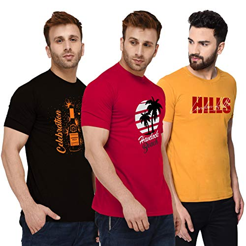 London Hills Men's Half Sleeve 100% Pure Cotton Casual Round Neck Printed Regular Fit Non-Shrinkable Multi-Colored T-Shirts (Pack of 3)