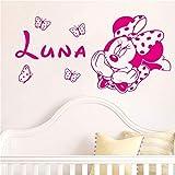 wandaufkleber spruch Kreative Kawaii Für Kinderzimmer Minnie Mickey Mouse Butterfly Benutzerdefinierte Babynamen, Zuhause