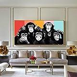Monos divertidos Graffiti Pinturas de lienzo en la pared Carteles e impresiones Animales modernos Arte de la pared Lienzos Cuadros Decoración de la habitación de los niños (Sin marco) R1 60x120CM