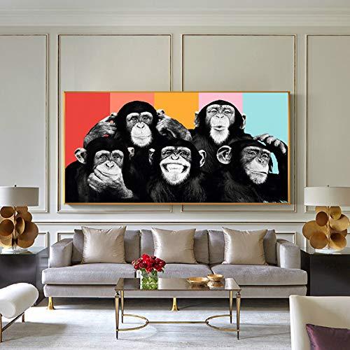Monos divertidos Graffiti Pinturas de lienzo en la pared Carteles e impresiones Animales modernos Arte de la pared Cuadros de lienzo Decoración de la habitación de los niños (Sin marco) R1 70x140CM