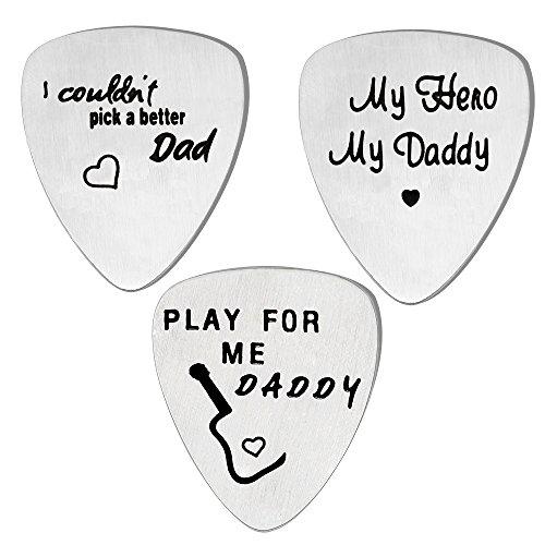 Set di 3 plettri per chitarra, regalo per la festa del papà, in acciaio inox