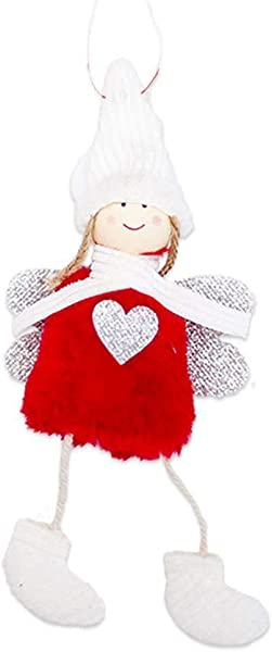 Clearance Sale DEESEE TM Christmas Angel Plush Doll Toy Christmas Tree Pendants Ornaments Decoration Home Red