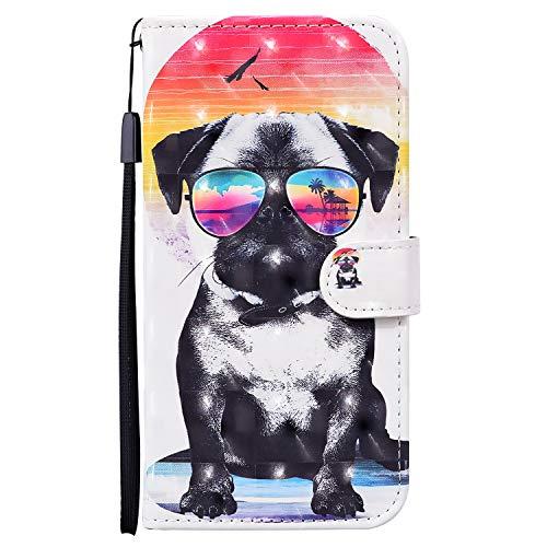 Funda para iPhone 8 Plus/iPhone 7 Plus Piel Cuero Libro Silicona con Cuerda Tapa y Cartera Magnetica 3D Case Antigolpes Animal Dibujos Motivo Flip Resistente Carcasa PU Cover Niña Chica Perro