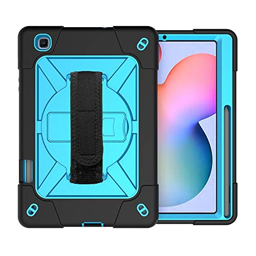 Zhangsihong Protective Case For Samsung Galaxy Tab S6 Lite P610 Contrast Color Robot Shockproof Silicon + PC Protective Case with Holder & Pen Slot (Color : Black Blue)
